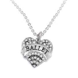 """<BR>    WHOLESALE BALLET DANCER JEWELRY   <br>                     HYPOALLERGENIC     <BR>      NICKEL, LEAD & CADMIUM FREE!!     <BR> W1706N1 - SILVER TONE AND CRYSTAL    <BR>    """"BALLET"""" DANCER HEART CHARM ON     <BR> CHAIN LINK LOBSTER CLASP NECKLACE   <br>        FROM $5.98 TO $12.85 �2015"""