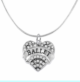 """<BR>    WHOLESALE BALLET DANCER JEWELRY   <br>                     HYPOALLERGENIC     <BR>      NICKEL, LEAD & CADMIUM FREE!!     <BR> W1706N2 - SILVER TONE AND CRYSTAL    <BR>    """"BALLET"""" DANCER HEART CHARM ON     <BR>SNAKE CHAIN LOBSTER CLASP NECKLACE   <br>        FROM $5.98 TO $12.85 �2015"""