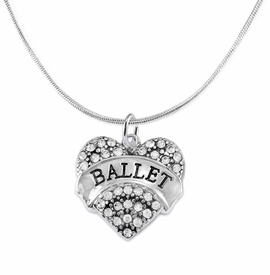 "<BR>    WHOLESALE BALLET DANCER JEWELRY   <br>                     HYPOALLERGENIC     <BR>      NICKEL, LEAD & CADMIUM FREE!!     <BR> W1706N2 - SILVER TONE AND CRYSTAL    <BR>    ""BALLET"" DANCER HEART CHARM ON     <BR>SNAKE CHAIN LOBSTER CLASP NECKLACE   <br>        FROM $5.98 TO $12.85 �2015"