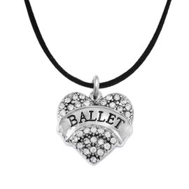 """<BR>    WHOLESALE BALLET DANCER JEWELRY   <br>                     HYPOALLERGENIC     <BR>      NICKEL, LEAD & CADMIUM FREE!!     <BR> W1706N3 - SILVER TONE AND CRYSTAL    <BR>    """"BALLET"""" DANCER HEART CHARM ON     <BR>  BLACK SUEDE LEATHERETTE NECKLACE   <br>        FROM $5.98 TO $12.85 �2015"""