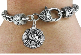"<BR>  WHOLESALE FIRE DEPT BRACELET JEWELRY <bR>                EXCLUSIVELY OURS!! <Br>           AN ALLAN ROBIN DESIGN!! <BR>     LEAD, NICKEL & CADMIUM FREE!! <BR> W1716SB1 - DETAILED SILVER TONE FIRE DEPT <BR>SHIELD WITH ""VOLUNTEER FIREFIGHTER"" CHARM <BR>   ON HEART LOBSTER CLASP BRACELET <Br>     FROM $5.63 TO $12.50 �2015"