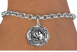 "<BR>WHOLESALE FIRE DEPT BRACELET JEWELRY <bR>                EXCLUSIVELY OURS!! <Br>           AN ALLAN ROBIN DESIGN!! <BR>  CLICK HERE TO SEE 1000+ EXCITING <BR>        CHANGES THAT YOU CAN MAKE! <BR>     LEAD, NICKEL & CADMIUM FREE!! <BR> W1716SB2 - SILVER TONE FIRE DEPT SHIELD <BR> WITH ""VOLUNTEER FIREFIGHTER"" CHARM ON LOBSTER CLASP<BR>  BRACELET FROM $5.15 TO $9.00 �2013"