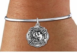 "<BR>  WHOLESALE FIRE DEPT BRACELET JEWELRY <bR>                EXCLUSIVELY OURS!! <Br>           AN ALLAN ROBIN DESIGN!! <BR>     LEAD, NICKEL & CADMIUM FREE!! <BR> W1716SB8 - DETAILED SILVER TONE FIRE DEPT <BR>SHIELD WITH ""VOLUNTEER FIREFIGHTER"" CHARM ON <BR>ADJUSTABLE SILVER TONE OPEN CUFF BRACELET <Br>     FROM $5.63 TO $12.50 �2015"