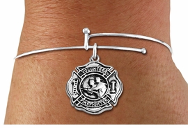 "<BR>  WHOLESALE FIRE DEPT BRACELET JEWELRY <bR>                EXCLUSIVELY OURS!! <Br>           AN ALLAN ROBIN DESIGN!! <BR>     LEAD, NICKEL & CADMIUM FREE!! <BR> W1716SB9 - DETAILED SILVER TONE FIRE DEPT <BR>SHIELD WITH ""VOLUNTEER FIREFIGHTER"" CHARM ON <BR>ADJUSTABLE SILVER TONE THIN WIRE BRACELET <Br>     FROM $5.63 TO $12.50 �2015"