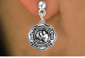 "<BR>  WHOLESALE FIRE FIGHTER EARRINGS <bR>              EXCLUSIVELY OURS!! <Br>         AN ALLAN ROBIN DESIGN!! <BR>   LEAD, NICKEL & CADMIUM FREE!! <BR> W1716SE2 - DETAILED SILVER TONE FIRE DEPT <BR>SHIELD WITH ""VOLUNTEER FIREFIGHTER"" CHARM <BR>POST STYLE EARRINGS FROM $4.95 TO $10.00 �2015"