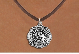 "<BR>       WHOLESALE FIRE DEPT NECKLACE JEWELRY  <bR>                   EXCLUSIVELY OURS!!  <Br>              AN ALLAN ROBIN DESIGN!!  <BR>     CLICK HERE TO SEE 1000+ EXCITING  <BR>           CHANGES THAT YOU CAN MAKE!  <BR>        LEAD, NICKEL & CADMIUM FREE!!  <BR>W1716SN4 - SILVER TONE FIRE DEPT SHIELD <BR> WITH ""VOLUNTEER FIREFIGHTER"" CHARM ON <BR>BROWN SUEDE NECKLACE FROM $5.90 TO $9.35 �2015"