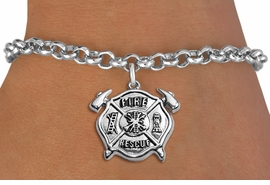 "<BR>WHOLESALE FIRE DEPT BRACELET JEWELRY <bR>                EXCLUSIVELY OURS!! <Br>           AN ALLAN ROBIN DESIGN!! <BR>  CLICK HERE TO SEE 1000+ EXCITING <BR>        CHANGES THAT YOU CAN MAKE! <BR>     LEAD, NICKEL & CADMIUM FREE!! <BR> W1717SB2 - SILVER TONE FIRE DEPT SHIELD <BR> WITH ""FIRE RESCUE"" CHARM ON LOBSTER CLASP<BR>  BRACELET FROM $5.15 TO $9.00 �2013"