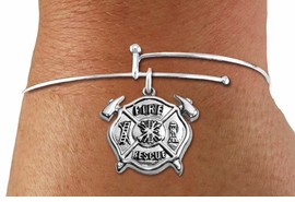 "<BR>  WHOLESALE FIRE DEPT BRACELET JEWELRY <bR>                EXCLUSIVELY OURS!! <Br>           AN ALLAN ROBIN DESIGN!! <BR>     LEAD, NICKEL & CADMIUM FREE!! <BR> W1717SB9 - DETAILED SILVER TONE FIRE DEPT <BR>SHIELD WITH ""FIRE RESCUE"" CHARM <BR>   ON THIN WIRE BRACELET <Br>     FROM $5.63 TO $12.50 �2015"
