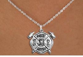 "<BR>       WHOLESALE FIRE DEPT NECKLACE JEWELRY  <bR>                   EXCLUSIVELY OURS!!  <Br>              AN ALLAN ROBIN DESIGN!!  <BR>     CLICK HERE TO SEE 1000+ EXCITING  <BR>           CHANGES THAT YOU CAN MAKE!  <BR>        LEAD, NICKEL & CADMIUM FREE!!  <BR>W1717SN1 - SILVER TONE FIRE DEPT SHIELD <BR> WITH ""FIRE RESCUE"" CHARM ON PETITE CHAIN <BR>LINK NECKLACE FROM $5.90 TO $9.35 �2015"