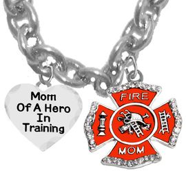 "W1718-1787N1 - "" MOM OF A HERO IN TRAINING "", FIREFIGHTER MOM �2018<BR>                       SAFE- Nickle, Lead, And Cadmium Free   $9.68 Each"