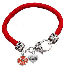 "W1718-1886B36 - Firefighter Mom ""Keep My Son Safe""<BR> Hypoallergenic - Safe, Nickle, Lead And Cadmium Safe<BR>           Genuine Leather Bracelet, �2018   $11.68"