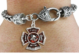 "<BR> WHOLESALE FIREFIGHTER FASHION JEWELRY  <bR>                    EXCLUSIVELY OURS!!  <Br>               AN ALLAN ROBIN DESIGN!!  <BR>         LEAD, NICKEL & CADMIUM FREE!!  <BR>  W1718SB1 - SILVER TONE AND RED EPOXY  <BR>WITH CRYSTAL ACCENTS ""FIRE MOM"" SHIELD  <BR> CHARM ON HEART LOBSTER CLASP BRACELET  <Br>          FROM $5.98 TO $12.85 �2015"