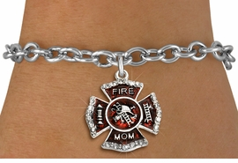 "<BR> WHOLESALE FASHION FIREFIGHTER JEWELRY <bR>                   EXCLUSIVELY OURS!! <Br>              AN ALLAN ROBIN DESIGN!!  <BR>     CLICK HERE TO SEE 1000+ EXCITING <BR>           CHANGES THAT YOU CAN MAKE!  <BR>        LEAD, NICKEL & CADMIUM FREE!!  <BR> W1718SB5 - SILVER TONE AND RED EPOXY  <BR>WITH CRYSTAL ACCENTS ""FIRE MOM"" SHIELD  <BR>      CHARM ON SILVER TONE TOGGLE CLASP <BR>   BRACELET FROM $5.40 TO $9.85 �2015"