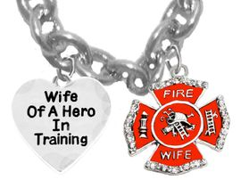 "<BR>              W1719-1786N1- ""WIFE OF A HERO IN TRAINING""<BR>               GENUINE CRYSTAL AND RED MALTESE CROSS  <BR>            �2018.  SAFE- Nickle, Lead, And Cadmium Free<br>                    18 Inch Cable Chain Necklace,  $9.68 Each"