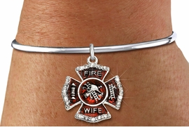"<BR> WHOLESALE FIREFIGHTER FASHION JEWELRY  <bR>                    EXCLUSIVELY OURS!!  <Br>               AN ALLAN ROBIN DESIGN!!  <BR>         LEAD, NICKEL & CADMIUM FREE!!  <BR>  W1719SB8 - SILVER TONE AND RED EPOXY  <BR>WITH CRYSTAL ACCENTS ""FIRE WIFE"" SHIELD  <BR> CHARM ON SILVER TONE OPEN CUFF BRACELET  <Br>          FROM $5.98 TO $12.85 �2015"