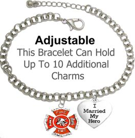"<br>    W1720-1918B2- FIRE / EMT MALTESE CROSS <BR>              And ""I MARRIED MY HERO"" CHARMS <BR>     On A Adjustable Rollo Chain Bracelet �2018<BR>SAFE-Nickle, Lead, And Cadmium Free. $9.68 Each"
