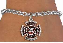 "<BR> WHOLESALE FASHION FIREFIGHTER JEWELRY <bR>                   EXCLUSIVELY OURS!! <Br>              AN ALLAN ROBIN DESIGN!!  <BR>     CLICK HERE TO SEE 1000+ EXCITING <BR>           CHANGES THAT YOU CAN MAKE!  <BR>        LEAD, NICKEL & CADMIUM FREE!!  <BR> W1720SB2 - SILVER TONE AND RED EPOXY  <BR>WITH CRYSTAL ACCENTS ""FIRE EMT"" SHIELD  <BR>     CHARM ON LOBSTER CLASP BRACELET  <BR>           FROM $5.40 TO $9.85 �2015"