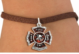 "<BR> WHOLESALE FASHION FIREFIGHTER JEWELRY <bR>                   EXCLUSIVELY OURS!! <Br>              AN ALLAN ROBIN DESIGN!!  <BR>     CLICK HERE TO SEE 1000+ EXCITING <BR>           CHANGES THAT YOU CAN MAKE!  <BR>        LEAD, NICKEL & CADMIUM FREE!!  <BR> W1720SB4 - SILVER TONE AND RED EPOXY  <BR>WITH CRYSTAL ACCENTS ""FIRE EMT"" SHIELD  <BR>    CHARM ON BROWN SUEDE LEATHERETTE <BR>  BRACELET FROM $5.40 TO $9.85 �2015"