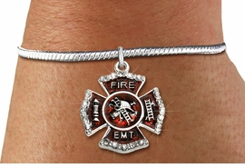 "<BR> WHOLESALE FIREFIGHTER FASHION JEWELRY  <bR>                    EXCLUSIVELY OURS!!  <Br>               AN ALLAN ROBIN DESIGN!!  <BR>         LEAD, NICKEL & CADMIUM FREE!!  <BR>  W1720SB7 - SILVER TONE AND RED EPOXY  <BR>WITH CRYSTAL ACCENTS ""FIRE EMT"" SHIELD  <BR> CHARM ON SILVER TONE SNAKE CHAIN BRACELET  <Br>          FROM $5.98 TO $12.85 �2015"