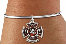 "<BR> WHOLESALE FIREFIGHTER FASHION JEWELRY  <bR>                    EXCLUSIVELY OURS!!  <Br>               AN ALLAN ROBIN DESIGN!!  <BR>         LEAD, NICKEL & CADMIUM FREE!!  <BR>  W1720SB8 - SILVER TONE AND RED EPOXY  <BR>WITH CRYSTAL ACCENTS ""FIRE EMT"" SHIELD  <BR> CHARM ON SILVER TONE OPEN CUFF STYLE BRACELET  <Br>          FROM $5.98 TO $12.85 �2015"