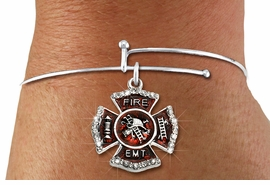 "<BR> WHOLESALE FIREFIGHTER FASHION JEWELRY  <bR>                    EXCLUSIVELY OURS!!  <Br>               AN ALLAN ROBIN DESIGN!!  <BR>         LEAD, NICKEL & CADMIUM FREE!!  <BR>  W1720SB9 - SILVER TONE AND RED EPOXY  <BR>WITH CRYSTAL ACCENTS ""FIRE EMT"" SHIELD  <BR> CHARM ON ADJUSTABLE THIN SOLID WIRE BRACELET  <Br>          FROM $5.98 TO $12.85 �2015"