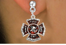 "<BR>  WHOLESALE FIRE SHIELD FASHION EARRINGS  <bR>                    EXCLUSIVELY OURS!!  <Br>               AN ALLAN ROBIN DESIGN!!  <BR>         LEAD, NICKEL & CADMIUM FREE!!  <BR>  W1720SE2 - SILVER TONE AND RED EPOXY  <BR>WITH CRYSTAL ACCENTS ""FIRE EMT"" SHIELD  <BR>    CHARMS ON SILVER TONE POST EARRINGS  <BR>           FROM $5.40 TO $10.45 �2015"
