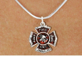 "<BR>     WHOLESALE FASHION FIRE SHIELD JEWELRY  <bR>                        EXCLUSIVELY OURS!!  <Br>                   AN ALLAN ROBIN DESIGN!!  <BR>          CLICK HERE TO SEE 1000+ EXCITING  <BR>                CHANGES THAT YOU CAN MAKE!  <BR>             LEAD, NICKEL & CADMIUM FREE!!  <BR> W1720SN2 - SILVER TONE AND RED EPOXY WITH  <BR>CRYSTAL ACCENTS ""FIRE EMT"" SHIELD CHARM ON  <BR>  SILVER TONE LOBSTER CLASP SNAKE CHAIN NECKLACE  <BR>                  FROM $5.40 TO $9.85 �2015"