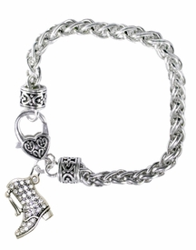<BR>    WHOLESALE DRILL BOOT JEWELRY  <bR>                    EXCLUSIVELY OURS!!  <Br>               AN ALLAN ROBIN DESIGN!!  <BR>         LEAD, NICKEL, LEAD, & CADMIUM FREE!!  <BR>   W1721B1 - BEAUTIFUL SILVER TONE AND  <BR>                CRYSTAL DRILL BOOT HEART <BR>CHARM ON HEART LOBSTER CLASP BRACELET  <Br>                      $10.38 EACH  �2015