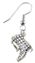 <BR>              DRILL BOOT FASHION EARRING  <bR>                      EXCLUSIVELY OURS!!  <Br>                 AN ALLAN ROBIN DESIGN!!  <BR>           NICKEL,  LEAD, & CADMIUM FREE!!  <BR>      W1721E1 - BEAUTIFUL SILVER TONE AND  <BR>CLEAR CRYSTAL DRILL BOOT CHARM  <BR>     ON SURGICAL STEEL FISHHOOK EARRINGS <BR>                       $11.38 EACH �2015
