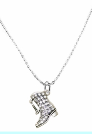 <BR>                     DRILL BOOT JEWELRY  <bR>                              EXCLUSIVELY OURS!!  <Br>                         AN ALLAN ROBIN DESIGN!!  <BR>                   NICKEL, LEAD, & CADMIUM FREE!!  <BR>              W1721N1- ANTIQUED SILVER TONE AND  <BR>                       CLEAR CRYSTAL DRILL BOOT<BR> CHARM ON LOBSTER CLASP CHAIN NECKLACE  <BR>                                  $9.38 �2015