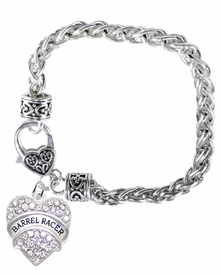 <BR>    WHOLESALE BARREL RACER JEWELRY  <bR>                    EXCLUSIVELY OURS!!  <Br>               AN ALLAN ROBIN DESIGN!!  <BR>        NICKEL,  LEAD,  & CADMIUM FREE!!  <BR>   W1727B1 - BEAUTIFUL SILVER TONE AND  <BR>                CRYSTAL BARREL RACER HEART <BR>CHARM ON HEART LOBSTER CLASP BRACELET  <Br>            FROM $5.98 TO $12.85 �2015>