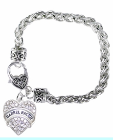 <BR>    WHOLESALE BARREL RACER JEWELRY  <bR>                    EXCLUSIVELY OURS!!  <Br>               AN ALLAN ROBIN DESIGN!!  <BR>        NICKEL,  LEAD,  & CADMIUM FREE!!  <BR>   W1727B1 - BEAUTIFUL SILVER TONE AND  <BR>                CRYSTAL BARREL RACER HEART <BR>CHARM ON HEART LOBSTER CLASP BRACELET  <Br>            FROM $7.48 TO $12.85 �2015