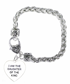 "<BR>    WHOLESALE ""I AM THE DAUGHTER OF THE KING"" JEWELRY  <bR>                                        EXCLUSIVELY OURS!!  <Br>                                       <BR>                               NICKEL, LEAD, & CADMIUM FREE!!  <BR>                         W1730B1 - ANTIQUED SILVER TONE AND  <BR>                "" I AM THE DAUGHTER OF THE KING"" SMALL HEART <BR>                        CHARM ON HEART LOBSTER CLASP BRACELET  <Br>                                     $9.68 EACH �2015"