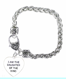 """<BR>    WHOLESALE """"I AM THE DAUGHTER OF THE KING"""" JEWELRY  <bR>                                        EXCLUSIVELY OURS!!  <Br>                                       <BR>                               NICKEL, LEAD, & CADMIUM FREE!!  <BR>                         W1730B1 - ANTIQUED SILVER TONE AND  <BR>                """" I AM THE DAUGHTER OF THE KING"""" SMALL HEART <BR>                        CHARM ON HEART LOBSTER CLASP BRACELET  <Br>                                     $9.68 EACH �2015"""