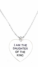 "<BR>   WHOLESALE FASHION "" I AM THE DAUGHTER OF THE KING"" JEWELRY  <bR>                              EXCLUSIVELY OURS!!  <Br>                         AN ALLAN ROBIN DESIGN!! <BR>                    NICKEL,  LEAD,& CADMIUM FREE!!  <BR>              W1730N1- BEAUTIFUL SILVER TONE AND  <BR>                       CLEAR CRYSTAL ""IAM THE DAUGHTER OF THE KING""<BR> CHARM ON LOBSTER CLASP CHAIN NECKLACE  <BR>                       FROM $5.40 TO $9.85 �2015"
