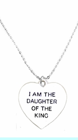 """<BR>   WHOLESALE FASHION """" I AM THE DAUGHTER OF THE KING"""" JEWELRY  <bR>                              EXCLUSIVELY OURS!!  <Br>                         AN ALLAN ROBIN DESIGN!! <BR>                    NICKEL,  LEAD,& CADMIUM FREE!!  <BR>              W1730N1- BEAUTIFUL SILVER TONE AND  <BR>                       CLEAR CRYSTAL """"IAM THE DAUGHTER OF THE KING""""<BR> CHARM ON LOBSTER CLASP CHAIN NECKLACE  <BR>                       FROM $5.40 TO $9.85 �2015"""