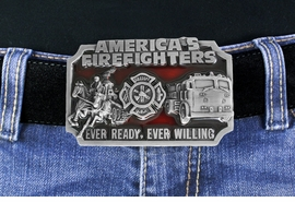W17312BK - A TRIBUTE TO AMERICAN<BR>   FIREFIGHTERS FROM YESTERDAY<BR>         TO TODAY RED ENAMEL AND <BR> PEWTER FIREFIGHTER BELT BUCKLE<BR>                               $9.35