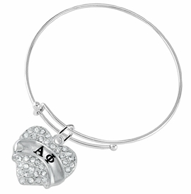 <BR>  LICENSED SORORITY WHOLESALE JEWELRY   <br>                       HYPOALLERGENIC   <BR>        NICKEL, LEAD & CADMIUM FREE!!   <BR>    W1747B9 - SILVER TONE AND CRYSTAL  <BR>    ALPHA PHI SORORITY HEART CHARM ON   <BR>  ADJUSTABLE SOLID THIN WIRE BRACELET  <br>           FROM $5.98 TO $12.85 �2015