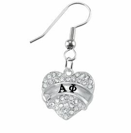 <BR>  LICENSED SORORITY WHOLESALE JEWELRY   <br>                       HYPOALLERGENIC   <BR>        NICKEL, LEAD & CADMIUM FREE!!   <BR>    W1747E1 - SILVER TONE AND CRYSTAL  <BR>   ALPHA PHI SORORITY HEART CHARMS ON   <BR>   STAINLESS STEEL FISH HOOK EARRINGS  <br>           FROM $5.98 TO $12.85 �2015