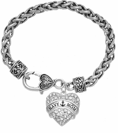 "<BR>    WHOLESALE ""NAVY MOM"" JEWELRY  <bR>                    EXCLUSIVELY OURS!!  <Br>               AN ALLAN ROBIN DESIGN!!  <BR>        NICKEL, LEAD & CADMIUM FREE!!  <BR>        W1751B1 - BRIGHT SILVER TONE AND  <BR>                CRYSTAL ""NAVY HEART"" <BR>CHARM ON HEART LOBSTER CLASP BRACELET  <Br>            FROM $5.98 TO $12.85 �2015"