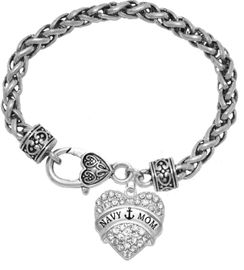 """<BR>    WHOLESALE """"NAVY MOM"""" JEWELRY  <bR>                    EXCLUSIVELY OURS!!  <Br>               AN ALLAN ROBIN DESIGN!!  <BR>        NICKEL, LEAD & CADMIUM FREE!!  <BR>        W1751B1 - BRIGHT SILVER TONE AND  <BR>                CRYSTAL """"NAVY HEART"""" <BR>CHARM ON HEART LOBSTER CLASP BRACELET  <Br>            FROM $5.98 TO $12.85 �2015"""