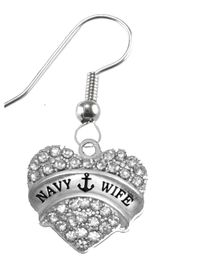 """<BR>         """"NAVY WIFE""""  EXCLUSIVELY OURS!!   <Br>                  AN ALLAN ROBIN DESIGN!!   <BR>           NICKEL, LEAD & CADMIUM FREE!!   <BR>W1752E1- WHOLESALE  $14.68 EACH �2015"""