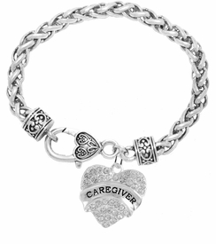 "<BR>WHOLESALE CRYSTAL CAREGIVER HEART JEWELRY     <br>                           HYPOALLERGENIC     <BR>            NICKEL, LEAD & CADMIUM FREE!!     <BR>  W1757B1 - SILVER TONE AND CLEAR CRYSTAL    <BR>     BEAUTIFUL ""CAREGIVER"" HEART CHARM ON     <BR>      HEART SHAPED LOBSTER CLASP BRACELET    <br>               FROM $5.98 TO $12.85 �2015"