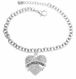 "<BR>WHOLESALE CRYSTAL CAREGIVER HEART JEWELRY     <br>                           HYPOALLERGENIC     <BR>            NICKEL, LEAD & CADMIUM FREE!!     <BR>  W1757B2 - SILVER TONE AND CLEAR CRYSTAL    <BR>     BEAUTIFUL ""CAREGIVER"" HEART CHARM ON     <BR>        CHAIN LINK LOBSTER CLASP BRACELET    <br>               FROM $5.98 TO $12.85 �2015"