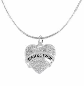 "<BR>WHOLESALE CRYSTAL CAREGIVER HEART JEWELRY     <br>                           HYPOALLERGENIC     <BR>            NICKEL, LEAD & CADMIUM FREE!!     <BR>  W1757N2 - SILVER TONE AND CLEAR CRYSTAL    <BR>     BEAUTIFUL ""CAREGIVER"" HEART CHARM ON     <BR>       SNAKE CHAIN LOBSTER CLASP NECKLACE    <br>               FROM $5.98 TO $12.85 �2015"