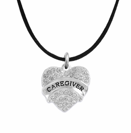 "<BR>WHOLESALE CRYSTAL CAREGIVER HEART JEWELRY     <br>                           HYPOALLERGENIC     <BR>            NICKEL, LEAD & CADMIUM FREE!!     <BR>  W1757N3 - SILVER TONE AND CLEAR CRYSTAL    <BR>     BEAUTIFUL ""CAREGIVER"" HEART CHARM ON     <BR>       BLACK SUEDE LOBSTER CLASP NECKLACE    <br>               FROM $5.98 TO $12.85 �2015"