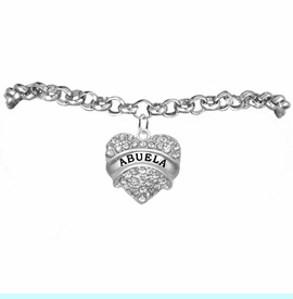"""<BR>  THE """"PERFECT GIFT"""" FOR YOUR ABUELITA  <BR>   CRYSTAL """"ABUELA"""" EXCLUSIVELY OURS!!  <br>                        HYPOALLERGENIC  <BR>         NICKEL, LEAD & CADMIUM FREE!!  <BR>      W1759B2 - """"ABUELA"""" CRYSTAL HEART  <BR>    ON SILVER TONE CHAIN LINK BRACELET  <BR>            FROM $5.98 TO $12.85 ©2015"""