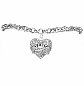"<BR>  THE ""PERFECT GIFT"" FOR YOUR ABUELITA  <BR>   CRYSTAL ""ABUELA"" EXCLUSIVELY OURS!!  <br>                        HYPOALLERGENIC  <BR>         NICKEL, LEAD & CADMIUM FREE!!  <BR>      W1759B2 - ""ABUELA"" CRYSTAL HEART  <BR>    ON SILVER TONE CHAIN LINK BRACELET  <BR>            FROM $5.98 TO $12.85 �2015"