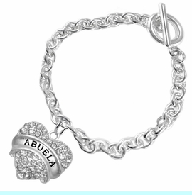 """<BR>  THE """"PERFECT GIFT"""" FOR YOUR ABUELITA  <BR>   CRYSTAL """"ABUELA"""" EXCLUSIVELY OURS!!  <br>                        HYPOALLERGENIC  <BR>         NICKEL, LEAD & CADMIUM FREE!!  <BR>   W1759B5 - """"ABUELA"""" CRYSTAL HEART ON  <BR>SILVER TONE CHAIN LINK TOGGLE BRACELET  <BR>            FROM $5.98 TO $12.85 ©2015"""