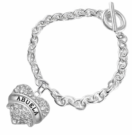 "<BR>  THE ""PERFECT GIFT"" FOR YOUR ABUELITA  <BR>   CRYSTAL ""ABUELA"" EXCLUSIVELY OURS!!  <br>                        HYPOALLERGENIC  <BR>         NICKEL, LEAD & CADMIUM FREE!!  <BR>   W1759B5 - ""ABUELA"" CRYSTAL HEART ON  <BR>SILVER TONE CHAIN LINK TOGGLE BRACELET  <BR>            FROM $5.98 TO $12.85 �2015"
